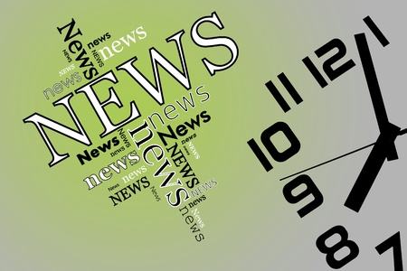 print media: News and time on soft green and grey background