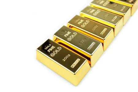evaluate: Gold bars on white