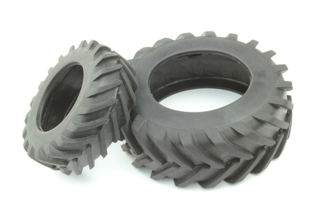 farm tractor: Tractor tires on white background