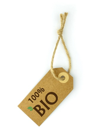 environmentalist label: Label and brown  100% BIO  text and green leaf