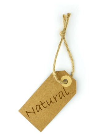 environmentalist label: Natural label and text - vertical -