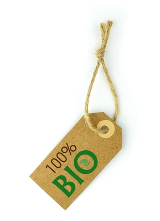 Label,   green  100% BIO  text and leaf in  O  photo
