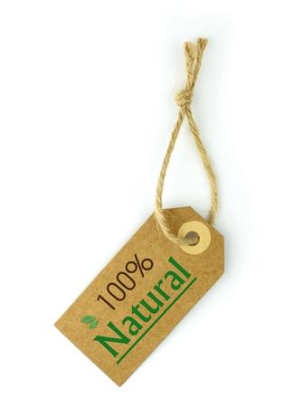 La etiqueta% natural y 100 el texto en verde y la hoja de Foto de archivo
