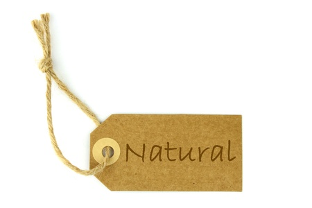 environmentalist label: Natural label  - horizontal - Stock Photo