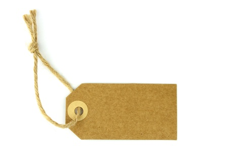 etiquetas de ropa: Etiqueta Natural sobre fondo blanco - horizontal - Foto de archivo