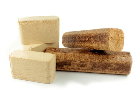 compressed: Wood briquettes Stock Photo