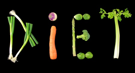 Vegetable  diet  text on black background photo