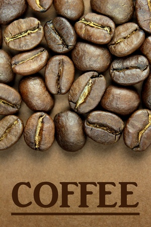 Coffee beans and brown  COFFEE  text  photo