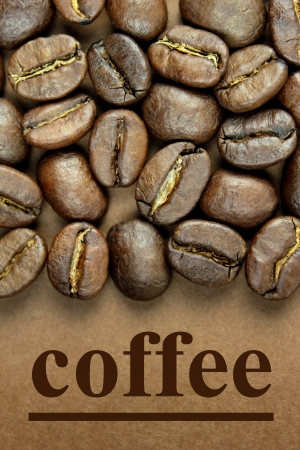 coffee harvest: Coffee beans and  coffee  text on brown background