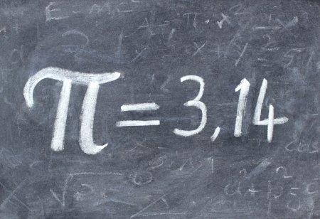 number 14: Pi number on blackboard Stock Photo
