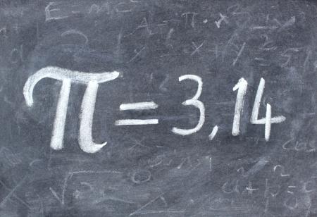 Pi number on blackboard photo