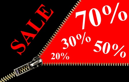 70: Sale placard , 20%, 30%, 50% , 70% and zipper opening concept