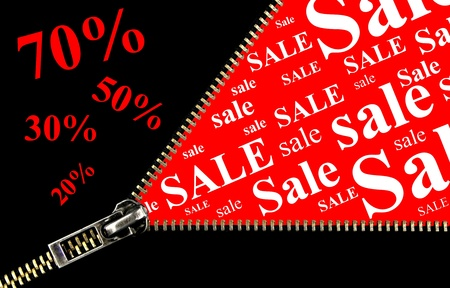 20 30: Sale placard , 20%, 30%, 50% , 70% and zipper opening concept