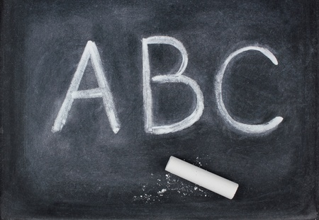 ABC letters and chalk on blackboard photo