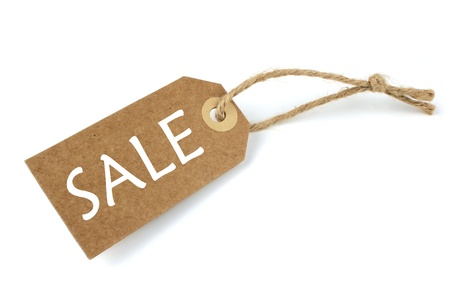 shoppings: Natural paper sale label with white text on white background.