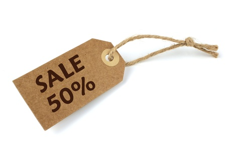 shoppings: 50% Sale label with natural paper and string Stock Photo