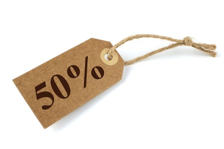 environmentalist label: 50% Sale label with natural paper and string Stock Photo