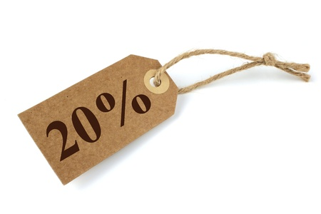 shoppings: 20% Sale label with natural paper and string Stock Photo