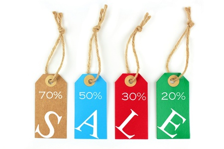 shoppings: Color sale labels 70%, 50%,30%,20%