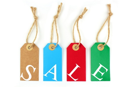 environmentalist label: Color sale labels and white letters Stock Photo