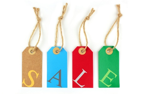 shoppings: Color sale labels and color letters Stock Photo