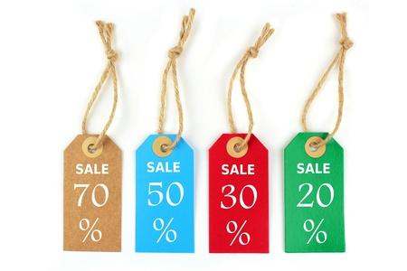 20: Venta color de las etiquetas de 70%, 50%, 30%, 20% Foto de archivo