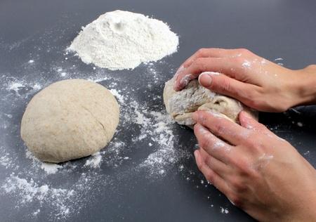 Kneading dough photo