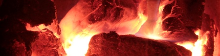 embers: Fire burning and embers banner Stock Photo