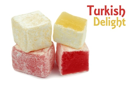 Turkish Delight on white background  photo