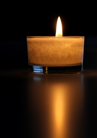 Candlelight and reflexion Stock Photo