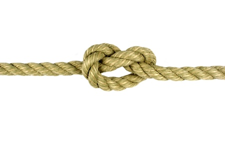 knotted: Rope with Knot on White Background