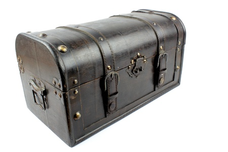 Old Treasure Chest on white background photo