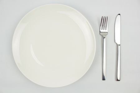 Knife, fork and plate  photo