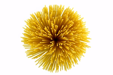 Bunch of spaghetti a top view on white background photo