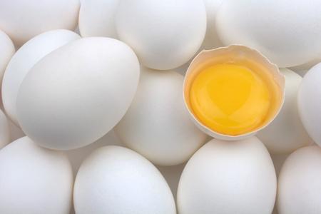 White eggs and egg yolk
