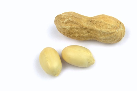monkey nuts: Peanut on white background