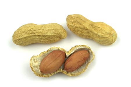 allergic ingredients: Peanuts on white background