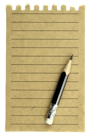 Old vintage note paper and pencil Stock Photo