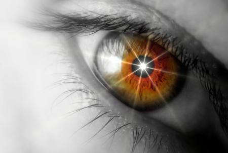 vision future: Eye schijnt Stockfoto