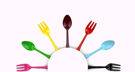 Colorful forks and spoons