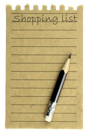 papier naturel: Liste de courses sur un papier naturel