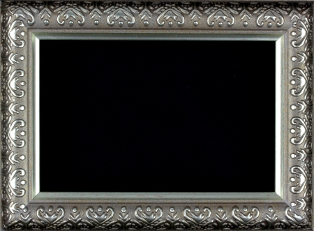 Antique silver and patterned picture frame black background photo