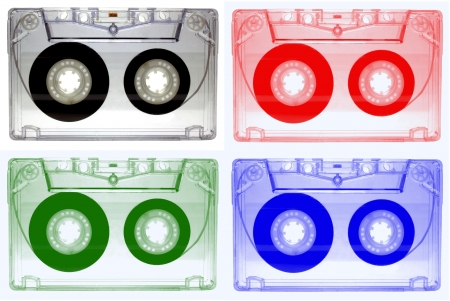 audio cassette: Colorful Audio cassette isolated on white background Stock Photo