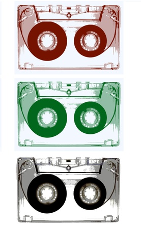seventies: Audio cassettes isolated on white background -illustration-