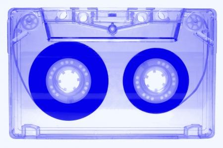 audio cassette: Blue audio cassette isolated on white background