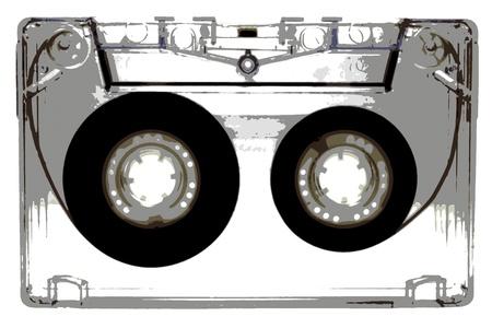 audio cassette: Audio cassettes - illustration - black Stock Photo
