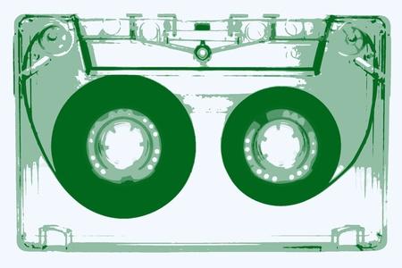 tape recorder: Casetes de audio - Ilustración - verde