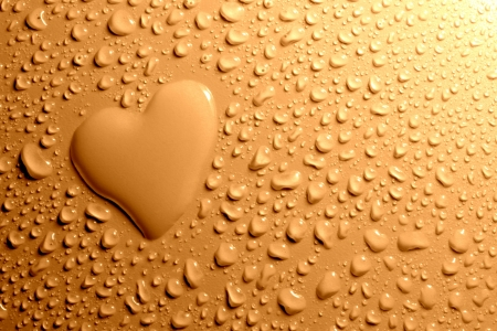 Water drops and heart shape  Stock Photo