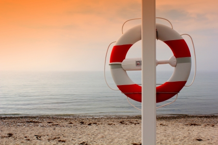 Life buoy on the beach