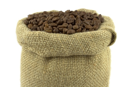 coffe beans: Coffee beans and linen sack on white background Stock Photo